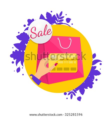 Sale tag, discount icon. Hand with credit card and shopping bag. Vector illustration. - stock vector