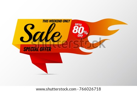 Sale Tag Hot Pricesale Banner Template Stock Vector