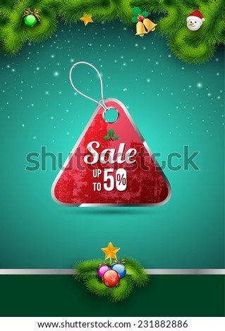 Sale tag on christmas background. Vector illustration. - stock vector