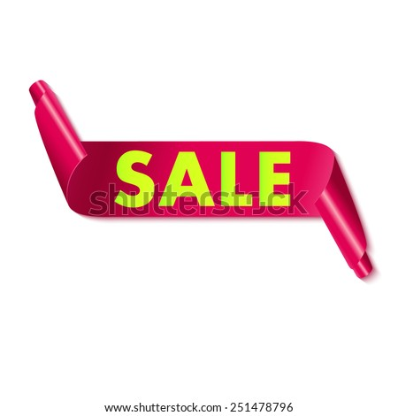 Sale tag on red ribbon. Vector illustration. - stock vector
