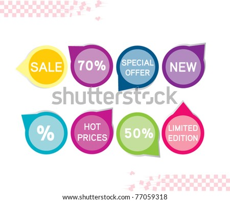 Sale tag stickers - stock vector