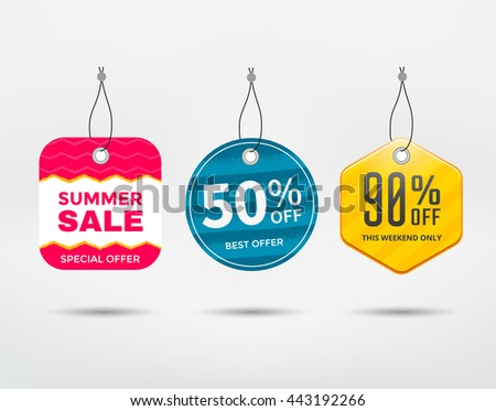 Sale tag vector set. Label discount different shapes. - stock vector