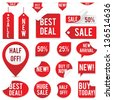 Sale Tags and Stickers Set - Set of red sale tags and stickers isolated on white background.  Eps10 file with transparency. - stock photo