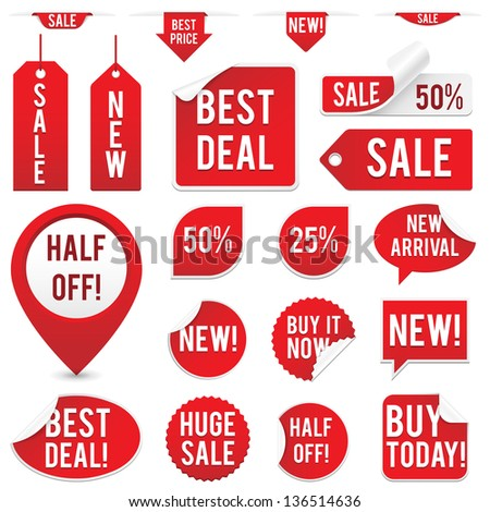 Sale Tags and Stickers Set - Set of red sale tags and stickers isolated on white background.  Eps10 file with transparency. - stock vector