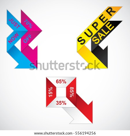 Sale tags, business arrows. Vector illustration.