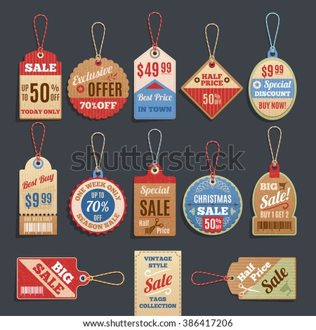 Sale Tags Collection. Sale Tags Vector set. Sale Tags Picture set. Sale Tags Image set. Sale Tags Isolated Icons set. - stock vector