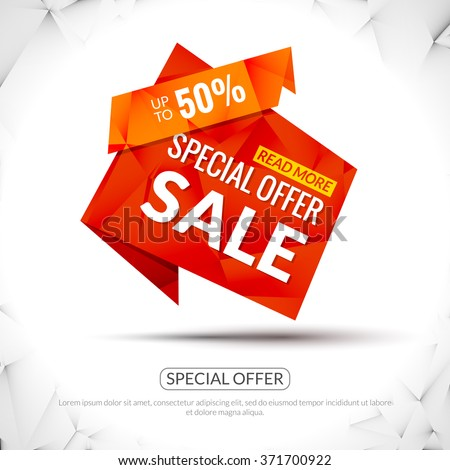 Sale Tags Graphic Elements in Paper Origami style. Promotional marketing and special offer 50 percents tags for markets, stores and shops. Modern triangle design. - stock vector