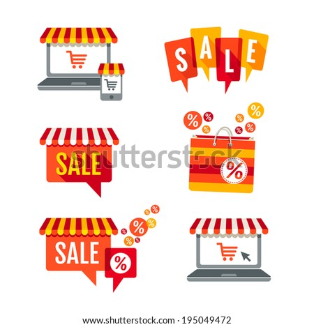 Sale tags, Laptop with awning and shopping bag icons set  - stock vector