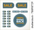 sale tags, price and discount percents and a money back guarantee badge - stock photo