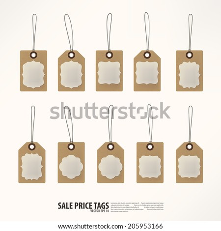 Sale tags set in red and white colors.
