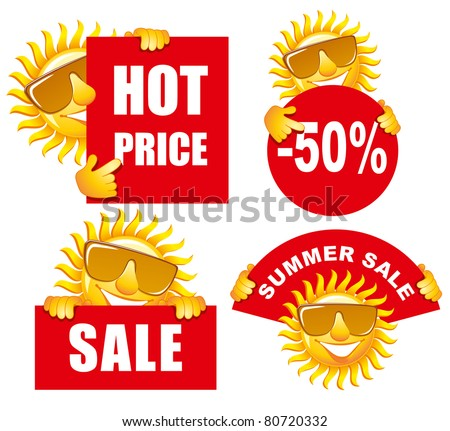 sale tags with a cheerful sun use for advertising product or service