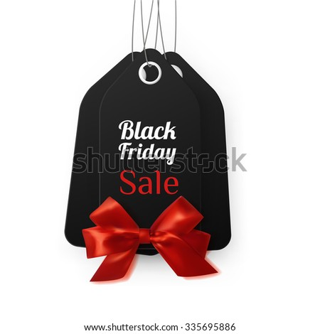 Sale tags with gift bow for black friday sale background. Vector eps10.
