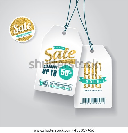 Sale tags with gold glitter texture. - stock vector