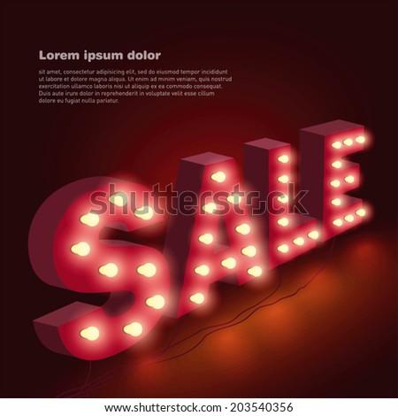 Sale text lighted with bulbs. Vector illustration. - stock vector