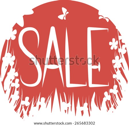 Sale text on a red background with flowers and butterflies. sale design template. - stock vector