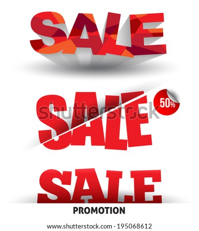 Sale text vector with shadows. Can use for promotion. - stock vector