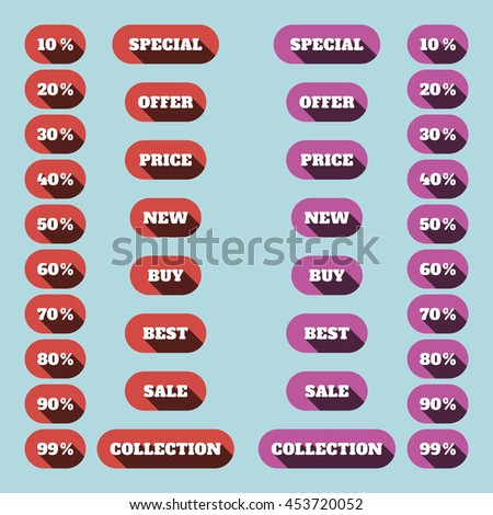 sale theme web banner set. Sale icons set in red and pink colors. Vector illustration. flat design with long shadows.
