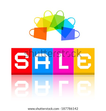 Sale Title and Colorful Shopping Bags - stock vector