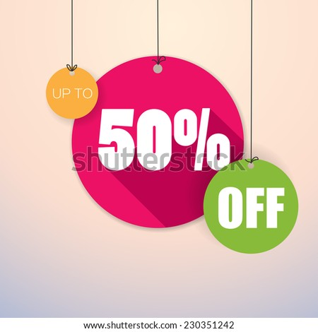 Sale Up to 50% - Colorful and fresh Vector Poster - stock vector