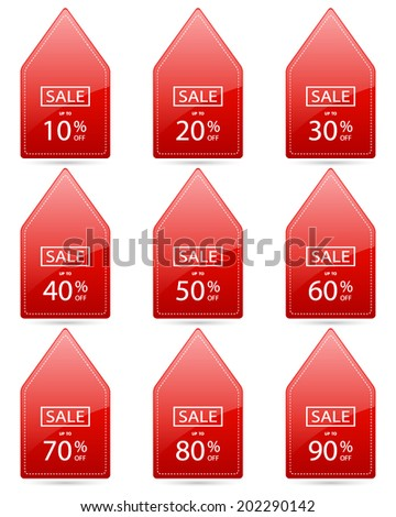sale up to 10,20,30,40,50,60,70,80,90 percent on triangle red label set (vector)