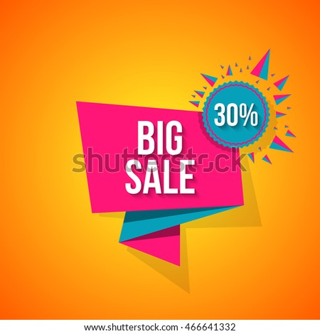 Sale vector origami concept banner template special offer 30 off. Abstract background. Discount design layout. Just now.