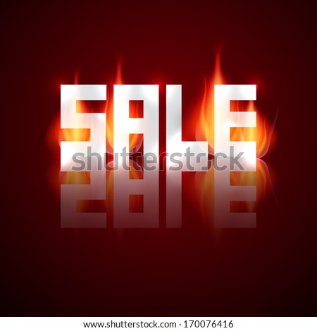 Sale Vector Title in Flames, Fire - stock vector