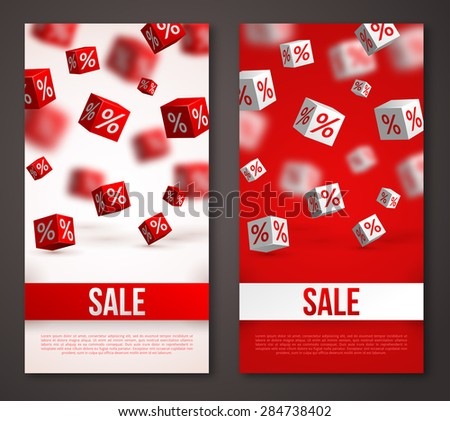 Sale Vertical Banners or Flyers Set. Vector Illustration. Design Template for Holiday Sale Events. 3d Cubes with Percents. Original Festive Backdrop. - stock vector