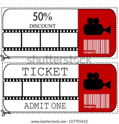 Sale Voucher Entrance Ticket Cinema Movie Stock Vector 107705612 ...