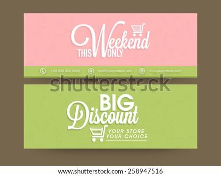 Sale website header or banner set with big discount offer. - stock vector