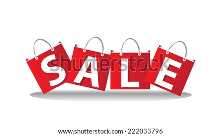 Sale wording on shopping bag, vector format