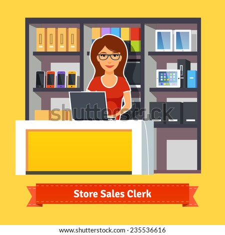 Sales clerk working with customers at the technology store or department. Pretty woman shop assistant. Flat illustration. EPS 10 vector. - stock vector