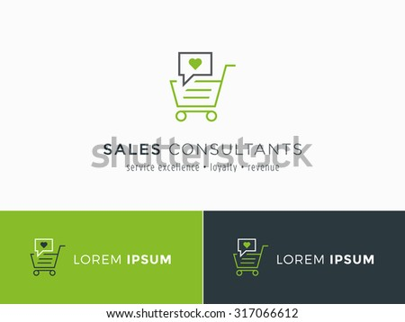 Sales consultant, sales trainer or mystery shopper company logo. Customer satisfaction and sales volume symbol. - stock vector