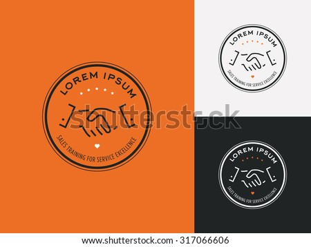 Sales consultant, sales trainer or mystery shopper company logo. Customer satisfaction, partnership and service excellence symbol. - stock vector