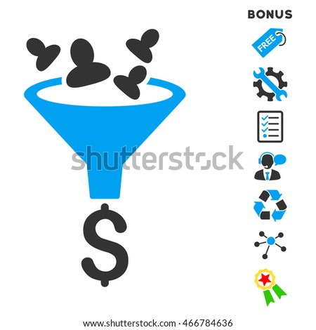Sales Funnel icon with bonus pictograms. Vector illustration style is flat iconic bicolor symbols, blue and gray colors, white background, rounded angles.