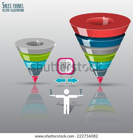 Sales funnel on a gray background 3D. 5 or 7 stage. - stock vector