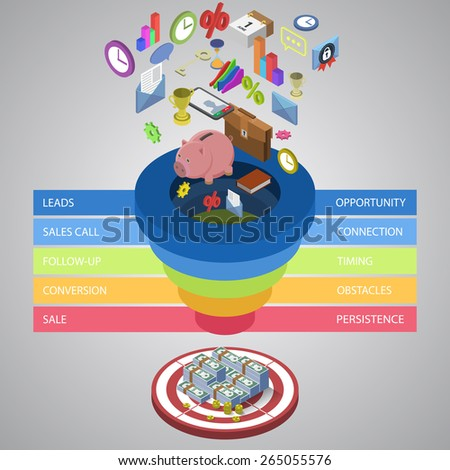Sales funnel template for your business presentation EPS10 isometric vector - stock vector