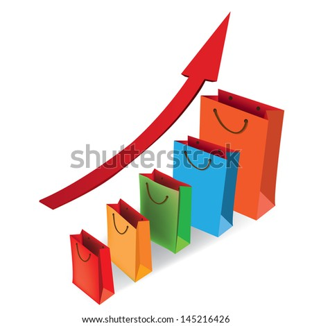 Sales growth chart. Presenting a getting better economy and increase of business income from the sale of commodities and services. Vector illustration. - stock vector