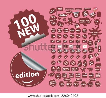 sales, stickers, shop, store icons, signs, illustrations set, vector - stock vector