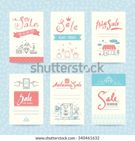 Sales tag, black friday invitation, ad banner, flyer and poster. Shopping and retail collection of colorful templates with trendy thin line icons, handwritten text, brush strokes & splatters. - stock vector