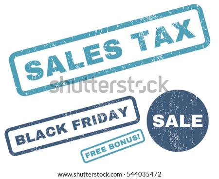 Sales Tax rubber seal stamp watermark with additional design elements for Black Friday sales. Vector cyan and blue emblems. Text inside rectangular shape with grunge design and dust texture.
