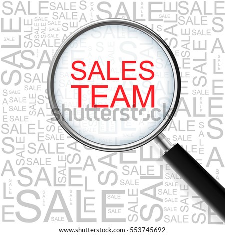 Sales Team. Magnifying glass over seamless background with different association terms. Business Concept.