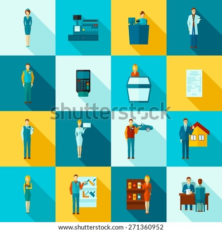 Salesman shop assistant figures flat long shadow icons set isolated vector illustration - stock vector