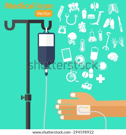 saline solution bag with pole, patient 's hand, IV tube, medical icon ( ambulance, wheelchair, medicine, drug, chart, thermometer, cane, surgical knife, stethoscope, organ, lung, spine ) - stock vector