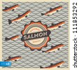 Salmon fish mascot in retro style background, vector Eps 10 illustration. - stock photo