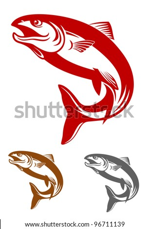 Salmon fish mascot in retro style isolated on white background, such logo. Jpeg version also available in gallery - stock vector
