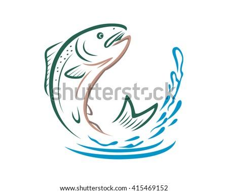 Salmon Fish Migration - stock vector