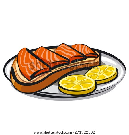 salmon sandwich - stock vector