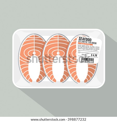 Salmon Sliced Pack Vector Illustration