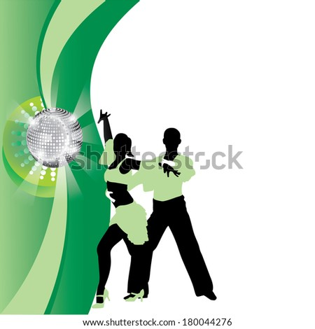 salsa dancing couple on a green background - stock vector