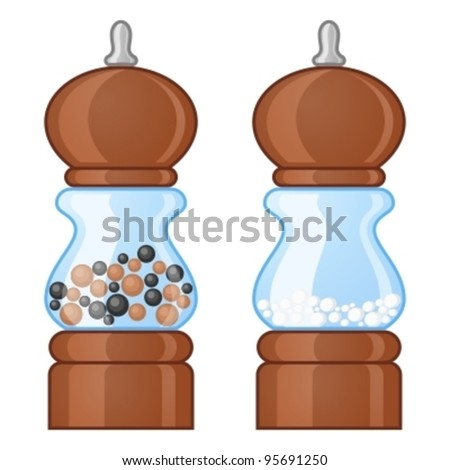 Salt and pepper mills - stock vector